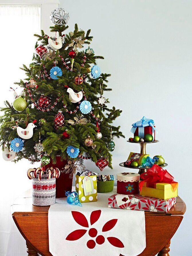 Різдвяний декор: 40 казкових ідей прикрашання маленької ялинки 42